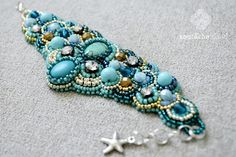 Bead embroidery cuff Turquoise, aqua, teal, silver, gold bracelet