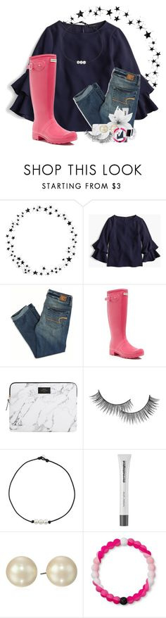 """""""Raining a lot 💧💧"""" by preppypuffpuff on Polyvore featuring Camp, J.Crew, American Eagle Outfitters, Hunter, Forever 21, Dermalogica, Carolee, Lokai and Apple"""