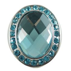 Chunk Snap Charm Oval Turquoise Center Crystal and Border 22mm