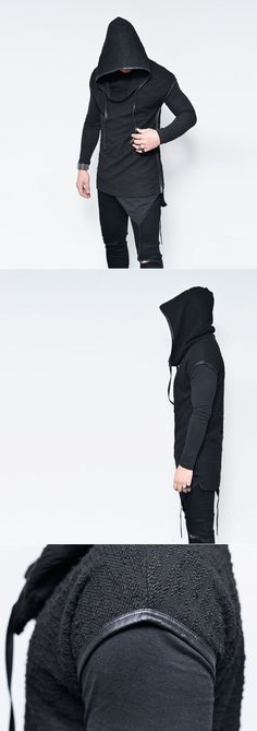 Tops :: Dark Edge Oversized Hood Poncho Knit-Tee 481 - Mens Fashion Clothing For An Attractive Guy Look
