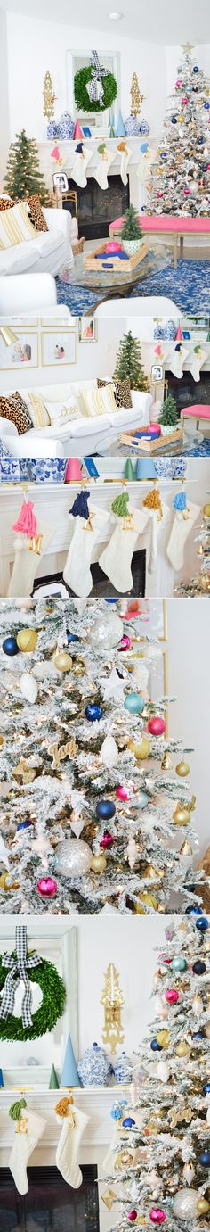 Modern Colorful Christmas Home Tour on Megan Martin Creative, bright Christmas, Holiday Mantel Decor, Tassel Garland, Colorful Christmas Tree, kate spade holiday, boxwood wreath, white stockings, sugar paper la holiday, gold navy pink green, living room, dining room, kitchen, pom pom garland, chinoiserie Christmas