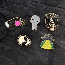 Cartoon UFO Spaceship Alien baby Planet Brooch Pin Metal Enamel Pins Button Bag Denim jacket Collar Pin Badge Icon Gift For Kids(China) Shape Patterns, Types Of Metal, Brooch, China, Unisex, Planet, Gifts, Accessories, Washi