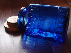 Embossed Cobalt Blue Glass Cannister, via Etsy.  Love the color
