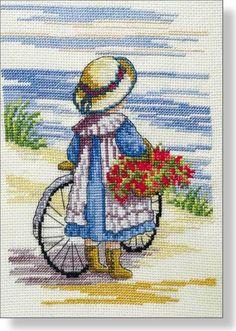 Op de fiets, borduren