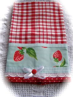 50 sewing kitchen projects For early sewing lessons 50 sewing kit. Dish Towels, Hand Towels, Tea Towels, Strawberry Decorations, Strawberry Crafts, Strawberry Art, Strawberry Fields, Sewing Crafts, Sewing Projects