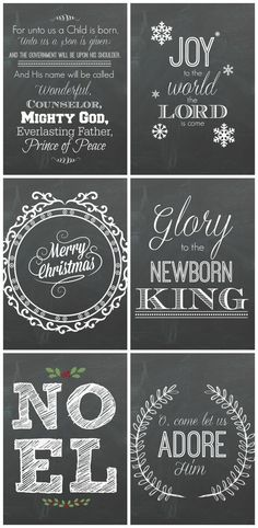 6 free Christmas Chalkboard Printables! Perfect for last minute, budget friendly decorating!: