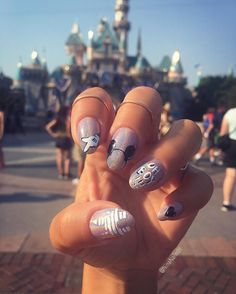 "ninanailedit: "" Requisite @disney mani at @disneyland yesterday! Acrylic paint over holo chrome powder for the occasion ⭐️ """