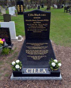 Presenter and performer Cilla Black's grave stone