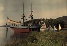 A view of ships and canoes docked in the harbor for summer camp fun at the Lanakila Camp for Boys in Vermont, 1927.Photograph by Clifton R. Adams, National Geographic Creative