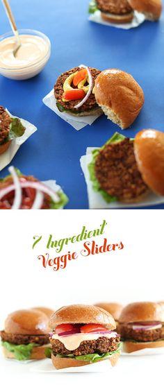 7 Ingredient Veggie Burger Sliders! So easy, healthy and hearty. #vegan #glutenfree
