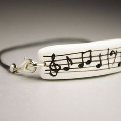 Music, Musician Jewelry, Cold Porcelain Bracelet, Gift Idea, Minimalism Style, Unique, Unisex Hipster Urban Jewelry