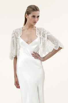 Elsa Embroidered Bridal Jacket - Read more on One Fab Day: http://onefabday.com/where-to-buy-bride-and-bridesmaids-cover-ups/