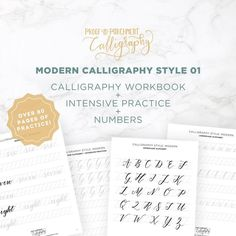 These modern calligraphy sheets are instant downloads so you can get the files as soon as you purchase and print them off to start practicing right away. The modern calligraphy letters practice worksheets include over 80 pages of content. #calligraphyworksheets Calligraphy Letters, Modern Calligraphy, Gift Guide, Worksheets, Countertops