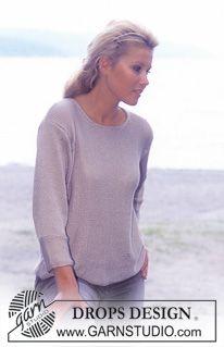 """Enkel tröja i """"Cotton Viscose"""" med ¾ långa ärmar. ~ DROPS Design"""