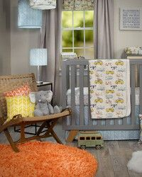 Happy Camper Crib Set by Glenna Jean.  Designer baby bedding with cute retro RV print paired with bright colored geometric herringbone fabrics.