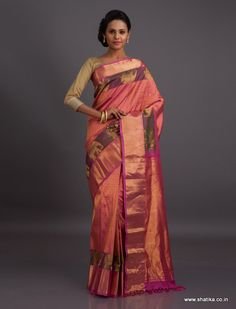 Immersed in gold from top to toe, this Gadwal saree with grand elephant motifs is an enchantress especially crafted for the queen in you. Gadwal sarees are renowned for admirable zari patterns and well-crafted pure silk kuttu borders and pallus. Exhibiting a remarkable trait of getting folded down to the size of a matchbox, our Gadwal Silk Sarees online have demand throughout the country.
