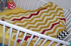 Chevron Baby Blanket Zig Zag Blanket Ripple Photo Prop Blanket In Bamboo Cotton And Linen. $135.00, via Etsy.