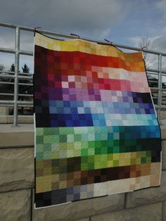 """""""My Kona Cotton Color Card"""" - A quilt I designed and made from 240 of the 243 Kona Colors available at the time!"""