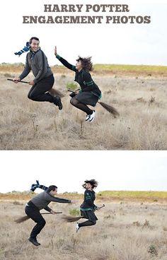 Engagement photos, Harry Potter style. Hahahahahaha this would be soooooooooooooooooo funny :D