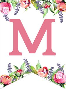 Make a personalized flower banner message fora birthday party, baby shower, or wedding. Free Printable Alphabet Letters, Free Printable Banner, Free Printables, Floral Banners, Floral Letters, Moldes Para Baby Shower, Eid Stickers, Flower Alphabet, Design Floral