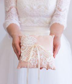 Handmade Wedding Ring Bearer Pillow Blush by TheLittleWhiteDress