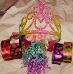 Girl 039 s Princess Tiara 4 Cuff Bracelets 6 Bead Hair Ties Lot Combine SHIP Save $$ | eBay