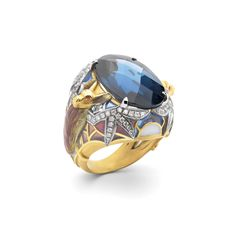 """Genuine Night AN-408. 18 kt yellow gold ring with """"pliqué-à-jour"""" and """"basse taille"""" fired enamel, diamonds and a London blue topaz.   #jewelry #artnouveau #enamel #barcelona"""