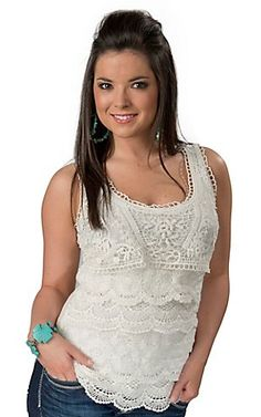 Color FX® Women's White Tiered Lace and Crochet Sleeveless Fashion Tank Top | Cavender's Boot City Ladies Western Shirts, Cavenders Boots, Cowgirl Style, Country Girl Style, Lace Tank, Shirt Style, Check, Lace Clothing, Kindergarten Prep