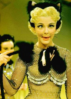"""Vivian Blaine in """"Guys and Dolls"""" One of my all-time favorite musicals! """"Here kitty, kitty! Jean Simmons, Old Movies, Vintage Movies, Pokerface, Guys And Dolls, Cat Costumes, Masquerade Costumes, Vintage Costumes, Costume Ideas"""