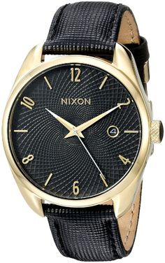 Nixon Women's A473513 Bullet Leather Analog Display Japanese Quartz Black Watch ** To view further for this watch, visit the image link.