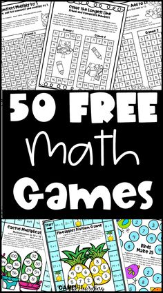 These free math games are ideal for the classroom or homeschool. There are printable math games for first, second, third and fourth grade. And there are some for fifth grade and kindergarten also. Included are games for math fact fluency for addition facts, subtraction facts, multiplication facts and division facts. There are also games for place value, odd and even numbers, prime and composite, multiples, rounding, skip counting and more!  Great for math centers, fast finishers, homework etc. Printable Math Games, Free Math Games, Math Board Games, Fun Math, Maths, Second Grade Math, First Grade Math, Fourth Grade, Math Classroom