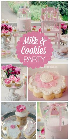 Mama Bear's Kitchen's Baby Shower / Pink Milk and cookies birthday party - Pretty in Pink at Catch My Party Pink And Gold Birthday Party, Little Girl Birthday, 2nd Birthday Parties, Birthday Ideas, Cookie Monster Party, Girl Birthday Decorations, Pink Milk, Baby Shower Parties, First Birthdays