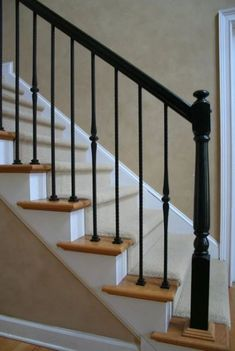 Good Absolutely Free Wrought Iron stair railing Ideas Residence beautifying having wrought iron is usually as sturdy nowadays as the wrought iron material itself. Staircase Railing Design, Wrought Iron Stair Railing, Interior Railings, Staircase Railings, Iron Spindles, Iron Spindle Staircase, Black Stair Railing, Railing Ideas, Bannister
