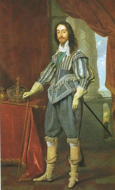 Linen shirts had deep cuffs. In the 1620s, a whisk, a collar wired to stick out horizontally, was very popular. Doublets were pointed and fitted close to the body, with tight sleeves. In 1640s, doublets were full and unfitted, and opened at the front below the high waist to show the shirt. Sleeveless leather jerkins were worn by soldiers and are seen in portraits. Short cloaks or capes, usually hip-length, often with sleeves, were worn by stylish men. They are usually slung artistically over…