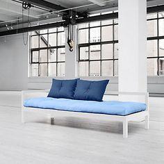 Canapé convertible Soul  2 coussins  gris clair, bleu ciel  205 x 60 x 80 cm