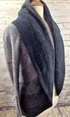 Kenar Womens Ombre Gray Black Open Front Sweater Wool Blend Fold Over Collar EUC #Kenar #CowlNeck #Casual