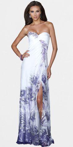 Purple Floral Print Prom Dresses by La Femme