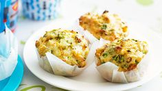 Courgette & feta muffins  These cheesy muffins are a great way to get savoury flavours into portable baked bites - great packed as a lunch box snack.