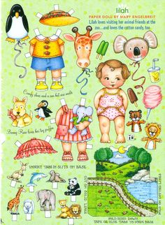 Uncut Paper Doll by Mary Engelbreit Lilah Goes to the Zoo