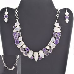 DESIGNER 925 STERLING SILVER JEWELRY SET FOR GIRL'S IN AMETHYST & RMS #SilvexImagesIndiaPvtLtd
