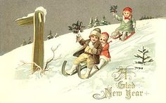 New Year~Victorian Children Sled Downhill Past Signpost~Holly~Emboss~John Winsch Vintage Cards, Vintage Postcards, Vintage Images, New Year Wishes, New Year Card, Christmas Images, Kids Christmas, Christmas Crafts, Merry Christmas