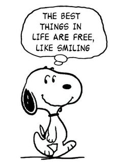 Snoopy Smiling For Free Peanuts Quotes, Snoopy Quotes, Peanuts Cartoon, Peanuts Snoopy, Snoopy Cartoon, Snoopy Love, Snoopy And Woodstock, Snoopy Hug, Disney Fantasy