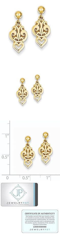 Precious Metal without Stones 164319: 14K Yellow Gold Polished Fancy Heart Dangle Post Earrings (0.7In X 0.3In) -> BUY IT NOW ONLY: $84.99 on eBay!
