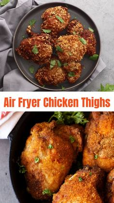 The most amazing air fryer chicken recipe! These crispy Air Fryer Chicken Thighs are easy to prep and done in 20 minutes. Juicy and delicious, these chicken thighs use no oil, no flour, and are gluten free. Air Fryer Recipes Chicken Thighs, Air Fryer Recipes Keto, Air Fry Recipes, Air Fryer Dinner Recipes, Baked Chicken Recipes, Healthy Dinner Recipes, Healthy Dinners, Healthy Chicken, Keto Chicken