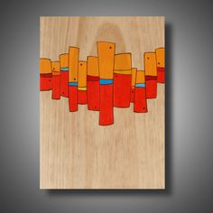 """Riot Act: 11.25"""" x 15"""" -  Abstract Modern Art on Pine - Pyrography - Prismacolor Pencil - Original Design"""
