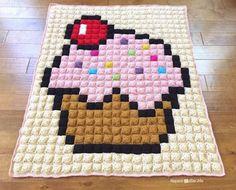 Crochet Cupcake Pixel Blanket - Repeat Crafter Me