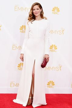 "Michelle Monaghan in Giambattista Valli ""I love a long-sleeved gown for evening and this crisp white version with an on-trend slit is absolutely flawless."