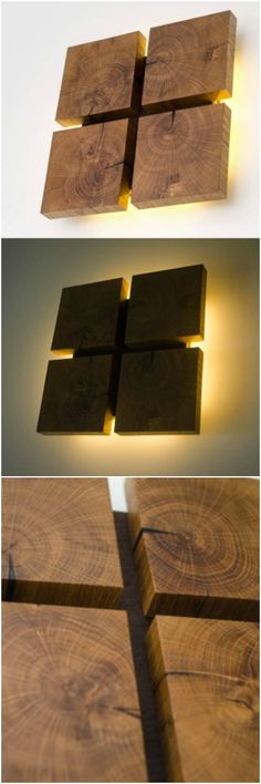 Square Wooden Oak Sconce is part of Wood wall decor - Wooden oak sconce lamps perfect way to mix atmosphere lighting and the beautiful natural decoration! Contains 8 LED modules and spreads fine soft light Rustic Lamps, Rustic Lighting, Rustic Wood, Rustic Modern, Into The Woods, Accent Wall Bedroom, Wood Bedroom, Accent Walls, Diy Bedroom