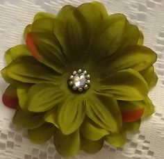 Shabby Chic Sage Green Flower Hair Clip Large by LoveBugsJewelry, $4.50