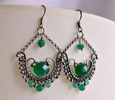 Green onyx earrings, wirewrapped earrings,chandelier earrings, oxidized sterling silver